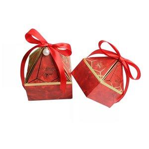 Marry Candy Box Pagoda Shaped Silk Ribbon Diamonds Return Gift Wrap New Pattern Small Large Packing Boxes Pink Hot Sale 0 38xp M2