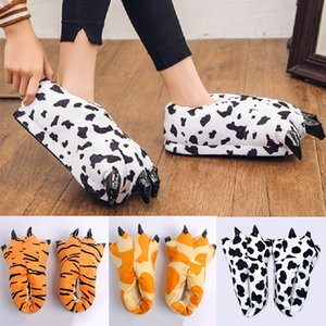 Winter Warm Soft indoor floor Slippers Shoes Paw Women Men Children Funny Animal Christmas Monster Tiger Claw Plush Home Y201026
