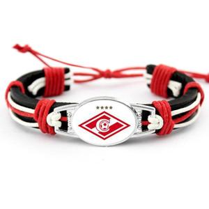 FC Club Spartak Moscow Genuine Leather Bracelet Charms Bracelets & Bangles Fans Hand Braided Jewelry
