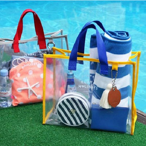 New Fashion Women Clear Transparent Storage Bag Summer Beach Handbag Clothing Toiletries Bag Makeup for Women Swimming