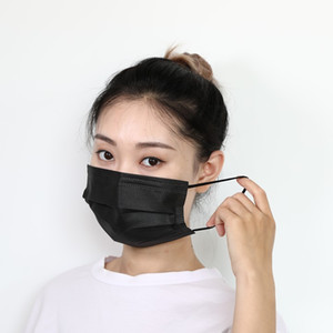 Face mask 4 Layers Black Face Masks Non-Woven Anti Dust Disposable Face Mask Facial Protective Cover Dust Mouth PM2.5 Safety Masks