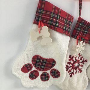 2019 рождественские чулки кошка собака лапы пушистые санта носки снежинки рождественские др порстерны рождественские подарочные мешок ewe2686