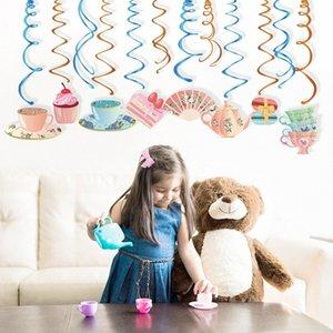 Partydekoration-Wand-Decken PVC Hanging Swirl Teapot Dessert Spirals Party Favors Supplies KkOf #