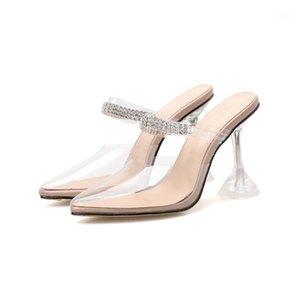 Lanlojer Transparente PVC Mujeres Partido Bombas Zapatos Cristal Diamond Strap Punto puntiagudo Tallo Claro Tacones Damas Vestimenta Bombas Sandalias Zapatos1