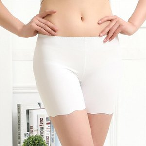 New Fashion Sexy Women Ice Silk Briefs High Waist Seamless Elastic Pants Short Female Leggings White Black
