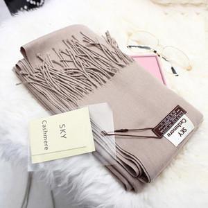 200 * 70 Моды шарфа женщин сплошного цвета шарфа кашемир шерсть шаль с чистым цветом зимой и кашемир, как тепло платок