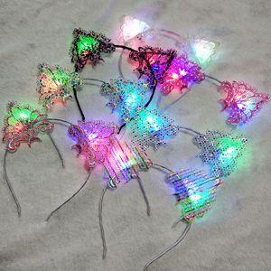 Lace Cat Ears Hair Hoop Women Fashion Headbands Accessories Polychromatic Luminescence Metal Hair Band Ornaments Wedding 3 19csK2B