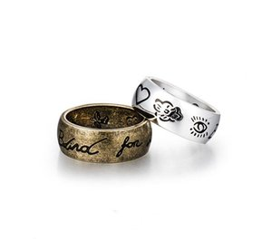 Новый Ретро Пара Кольца сердца глаз Птицы Цветы Письмо Кольцо для женщин Мужчины Гравировка Blind на День Любовь Валентина подарок