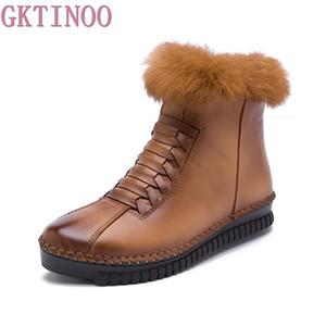 GKTINOO Couro Botas Mulheres Platform Zip Inverno Botas Curto Plush Moda Casual Mulheres Flats Shoes Tamanho 35-40
