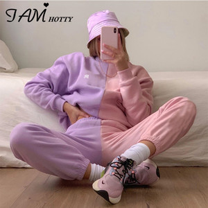 IAMHOTTY Embroidery Sweatshirt Joggers Pants Women's suits Patchwork Hoodie Sweatpants Outfits Two piece set Autumn Tracksuit 201007