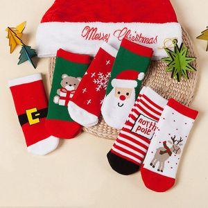 Cute Soft Kids Christmas Socks 1-10 Years Old Lovely Comfortable Boy Girls Socks Cartoon Cotton Baby Children Christmas Socks HWD3063