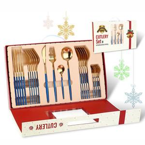 Feliz Navidad Vajilla Set 24 Piezas Regalos de Navidad Tenedor Cuchillo Tenedor Cuchara Sistema Cubiertos Cubiertos Decoraciones de Navidad DWF2993