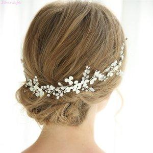 Jonnafe Fashion White Flower Women Headpiece Rhinesstone Bridal Headband Hair Vine Wedding Hair Pin Accessories