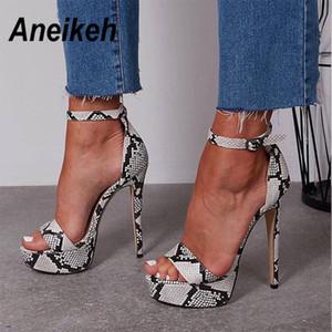 Aneikeh 2020 Serpentine Plataforma Salto Alto Sandálias Verão Sexy tira no tornozelo Sapato Aberto à frente Gladiator Party Dress Women Shoes Tamanho 4 9