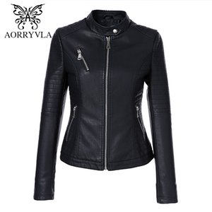 AORRYVLA Siyah Kısa Sonbahar Bayan Deri Ceket Uzun Kollu Mandarin Yaka Moto Biker Fermuar İnce kapitone PU Deri Ceket 201006