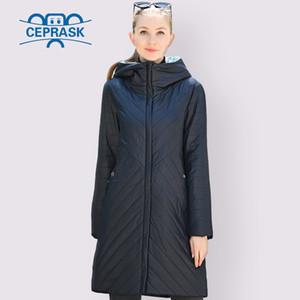 CEPRASK diseñador del resorte Colección otoño Mujeres chaqueta delgada Parka larga más el tamaño 6XL nuevo de las mujeres de Europa Escudo ropa caliente Y201001