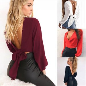 Sexy Women Ladies V neck Long Sleeve Bandage Blouse Tops Summer Backless Tops Shirt Casual Blouse Red Black White