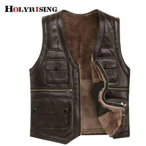 Holyrising Mens Luxury Full Sheepskin Leather Gilet Motorcycle Vest for Men Pockets Black Brown Fake Leather Coat 19246-5 201128