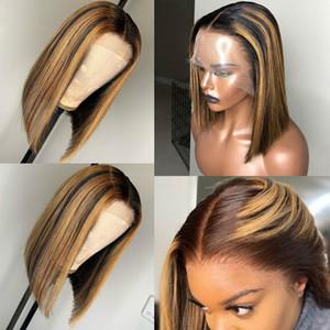 13x6 Destaque Wig Ombre Brown Mel Loiro Curto Bob Wig HD dianteira do laço peruca colorida completa 360 Frontal Cabelo Humano Perucas 4x4 Encerramento