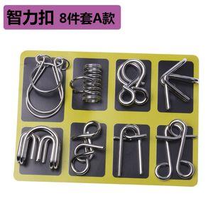 Xmy Educacional Anel Chinês Puzzle Toy Set Metal Desligado Burr Quebra-cabeça Presente Inglês Versão Luban Lock