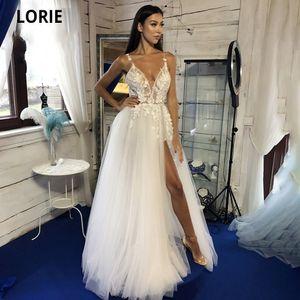 LORIE Boho tulle abito da sposa con scollo a V in pizzo Appliques in rilievo Fiori A-Line Illusion Beach abito della principessa Bridal con spacco