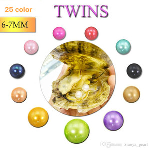 2020 Wholesale 25 Colors 6-7MM Natural Twin Pearls in Saltwater Oysters Akoya Oysters with Double Pearls Inside Love Wish Pearl Gifts A-0019