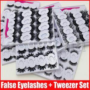 10 paires 3D doux Faux Mink cheveux Faux cils brucelles naturel Messy Cils Croisillon Wispy Fluffy 10 mm 25 mm Faux cils Extension