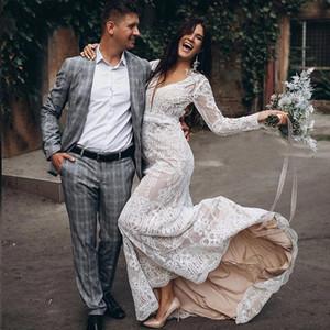 V Neck New Lace Wedding Dresses Bohemian Long Sleeves 2021 Country Rustic Bridal Gowns Mermaid Sweep Train robes de mariée Plus Size AL8743
