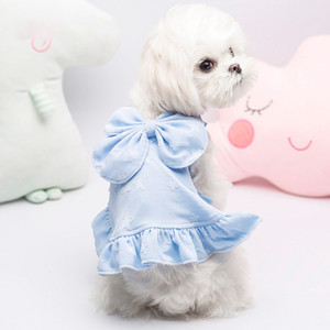 Cute Bowtie Dog Dress Sling Puppy Pet Skirt Clothing For Dogs Princess Pet Dog Clothes For Small Dogs Wedding Costume Ropa Perro T200710