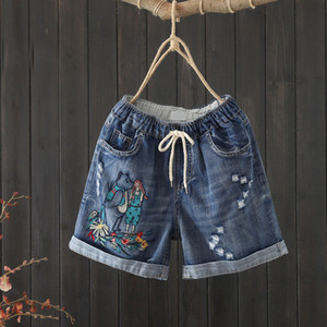 New Arrival 2020 Summer Women Vintage Ripped Jeans Shorts Patchwork Embroidery Loose Casual Elastic Waist Denim Shorts S909 T200704