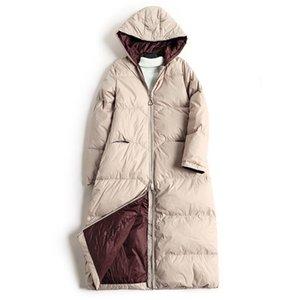 Новый 90% Brand Long Ladies Slim Down Женщины Теплый капюшоном Ms куртка горячее девушки пальто 201014
