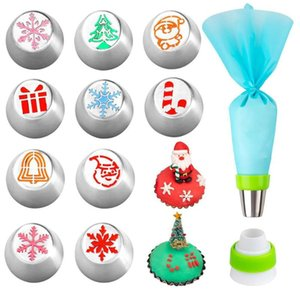 12Pcs Set Stainless Steel Mouth Pastry Bag Set for Christmas Cake Decoration