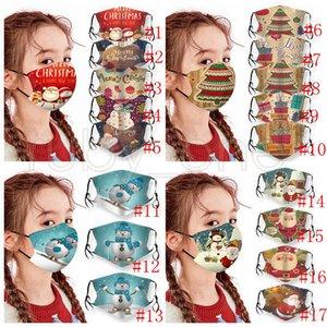 Maschere Festa di Natale dei bambini lavabili regolabili Maschere di protezione di natale del fiocco di neve Babbo Natale del pupazzo di neve stampato Bocca della copertura della mascherina RRA3673