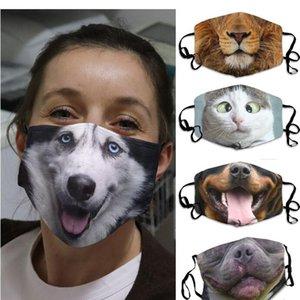 Komik Yüz Koruyucu Kapak Respiratörü Hayvan Yıkanabilir Yeniden kullanılabilir Yetişkin Unisex Tasarım Maskeler Noel Hediyesi GWE2037 Maske Baskı 3D-Print Maske