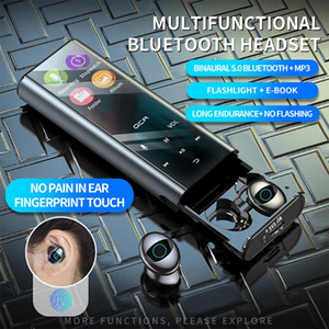 Q1 multifuncional sem fio Bluetooth MP3 Player Fone de ouvido Earbuds IPX7 Waterpoor 9D TWS fone 3500mAh-6000mAh Power Bank