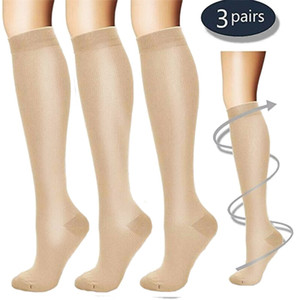 Palicy (3 Pairs) Compression Knee High Socks 20-30mm Hg Graduated Mens Womens S M L XL Foot Leg Support Stocking Sport Stockings 201012