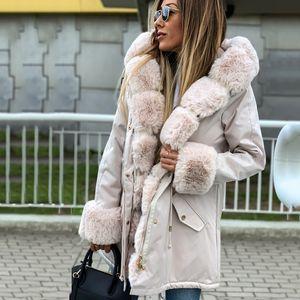 Umeko Jassen longue catoon Casual Fur capuche Vestes femmes Fat chaud hiver Parka femmes Pardessus