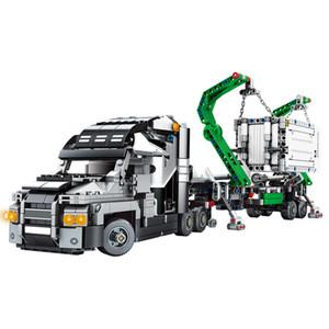 erkek çocuklar için Sembo 1202pcs Kamyon Mühendislik Yapı Taşları Technic Modeli Konteyner Vasıta Otomobil Oyuncaklar