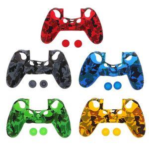 Para PS4 Controlador de camuflaje protector de silicona caso de la cubierta protectora de la piel del caucho controle Gamepad piel suave de la cubierta de gel