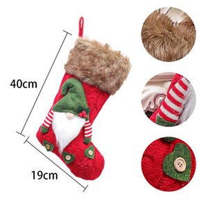 1pcs Cute Large Christmas Stockings Knitted Faceless Santa Gnome Doll Sock Xmas Candy Gift Bag Christmas Tree Pendant Decoration
