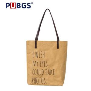 PUBGS Women Shoulder Bag Retro 2020 Environmentally Friendly Waterproof Kraft Paper Bag Large-capacity Daily Commuter Handbag