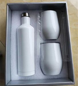 sublimation wine gift set Stainless Steel Wine Bottle Set 17oz wine Bottle with two 12oz glasses tumblers best gift set sea shipping AHE2632