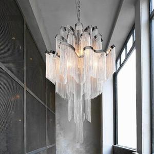 Modern creative  tassel chain chandelier Tassel chain Luxury Stair chandelier Hanging Light for Decoration Manggic lights