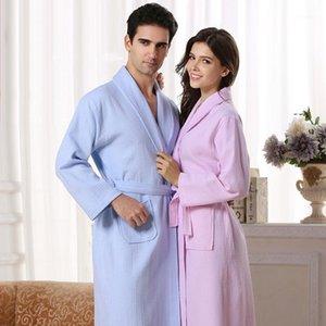 Atacado- 2016 primavera verão item fino algodão waffle bathrobe amantes roupão longo design robe1
