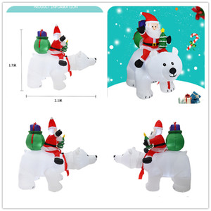 Рождество Санта-Клаус АМЗ Hotselling снеговика Надувной костюм рождественской вечеринки костюм Одежда Надувной Санта-Клауса с медведем EEC2493