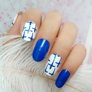 Royal Blue Artificial False Nails With Design Cross Patterns Oval Fake Fingernails DIY Full Cover Tips Manicure Tool