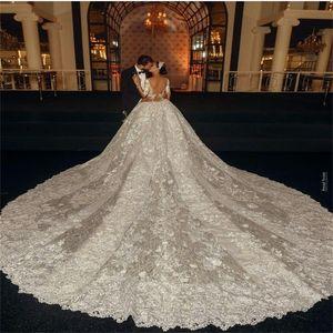 Luxury Mermaid Wedding Dresses Arabic Dubai Beads Appliqued Lace Chapel Bridal Gown With Detachable Train Long Sleeves Vestidos De Novia
