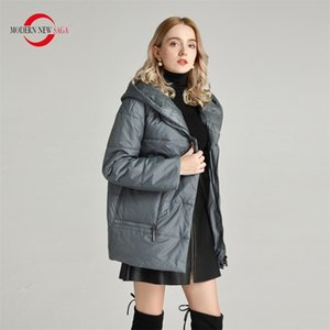 MODERNE NEW SAGA Automne capuche mince Veste matelassée polyester printemps chaud femmes Femme Vestes Taille Plus Manteau Y201012