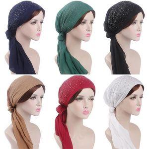 Women Glittering Printing Headbands Chemo Turban Elastic Muslim Head Cap Scarf