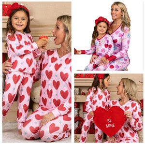 Валентина Pajamas Устанавливает родитель-ребенок Одежда сердца Печатная футболка топы на головных штаны двух частей для детей взрослых женщин домашняя одежда G10801